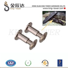 stainless belt loop type chicago screw with flat head (with ISO and RoHs certification )