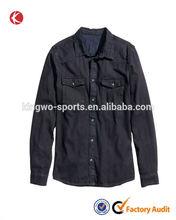trendiges design Mann dunkelblauen langen Ärmel denim shirts