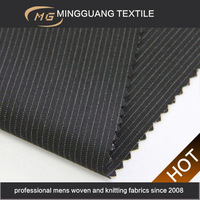China manufacturer polyester viscose wool spandex woven pinstripe suit wholesale ankara fabric