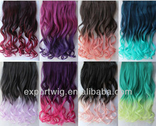 One piece clip in ombre hair extension curly 36colors