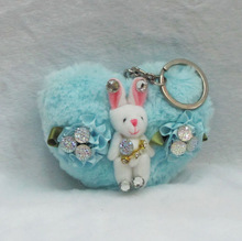joint rabbit, diamond and flowers on blue heart cute keychain toy