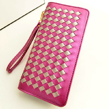 Alibaba best sale new brand long pu Pierced travel big capacity wallet magic wallet