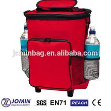 red fashion easy storage wheeled picnic bag