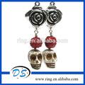Día de los muertos, dia de de muertos ldv magia del cráneo pendientes con rosas