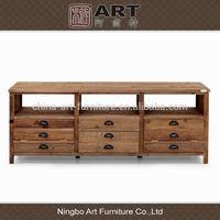Antique furniture european design living room furniture solid wood 6 drawers TV stand