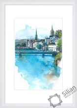 Printed modern decorative landscape wall painting,architecture printing for home decor