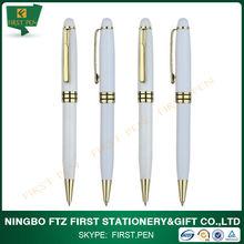 Elegant Golden Chrome Trims Metal Ball Pen For Business Gift