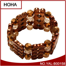 Deluxe Jewelry Coffee Filled Crystal Beads Womens Bracelets