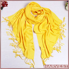 Yellow color long cotton pashmina scarf shawl