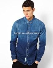 100% cotton nice design denim shirt men 2014