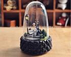 Sweet dancing Couple glass zun rotating flashing light music box, Valentine birthday girlfriend gifts 55-2-7