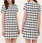 Ladies one piece shift dress,Check pattern one piece dress latest,Jersey dress factory