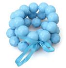 2014 New Women Fashion Blue Acrylic Beaded Three Layered Ribbon Bow Tie Elastic Bracelet