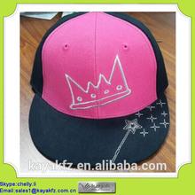 custom printed pink and balck acrylic snapback swag cap for kids