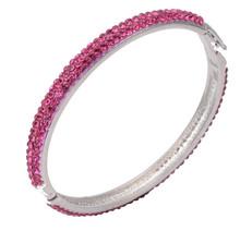 2014 Women Luxury Retro Fashion Shamballa Elements Full Pink Rhinestone Silver plated bangle for engagement gift