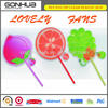 Hot new products for 2014 promotional gift fruit shape mini plastic fan blade plastic pp toy fan with long handle