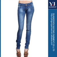 Cute women jeans lady's strechy skinny 5 pockets blue jeans, blue, 85% Cotton, 15% Polyester