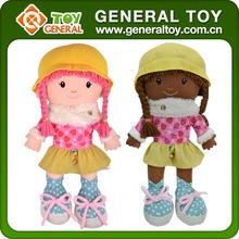 Nuevo diseño negro muñeca de moda, muñecos de peluche para los niños, trapo de baby doll