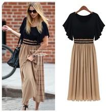 New! Hot! Fashion Bohemia Women's High Waist Ruffle Sleeve Sexy Vintage Long Chiffon Maxi Dress On sale Plus Size G0222