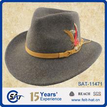 Feather trim 100% Australian wool felt cowboy hat for sale