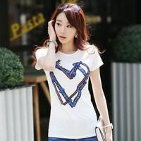 WholeSale New 2014 Summer Women T-shirt 100% Cotton Short Sleeve O-neck Heart Beading Rhinestones Korean Fashion Top H16683