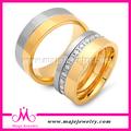 Banhado a ouro de aço inoxidável jóias anéis / wedding Ring Set para casal