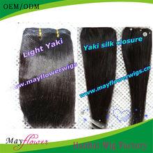 6a brazilian light yaki closure with hair wefts