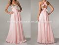 2014 recém-chegados elegante fantasia rosa longo vestido de noite chiffon