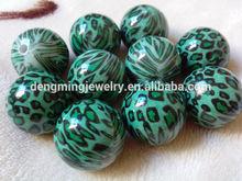 New design Chunky acrylic green Leopard print jewelry beads!! 105pcs/lot animal print beads for jewelry Decoration!!