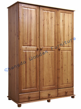 SD-1526 bedroom furniture solid wood 3 doors wardrobe/bed sets