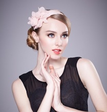 Mini fascinator hair band with flower for girls