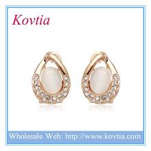 Free shopping white australian opal gold plated drop huggie hoop earring