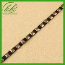 Hot selling elegant embroidery beaded trim band ,square stud beaded trim for ladies salwar kameez design