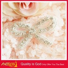 Fashion Elegant Crystal Beaded Applique Patch Rhinestone Trim For Bridal Sash Wedding Dress flat back iron on hot fix nailheads
