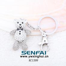 2014 New arrive fashion crystal white bear car keyring personalised keyring