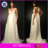 2015 New Collection A-line Spaghetti V-neck Pleated Beaded Designer Pregnant Women Wedding Dresses