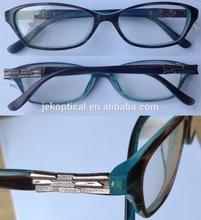 Fashion acetate eyewear glasses and metal decor eyewear