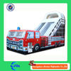 high quality painting fire truck inflatable slide