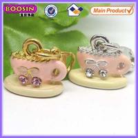 Fashion kids jewelry enamel tea cup charm metal cup charm #14706