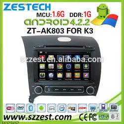 ZESTECH capacitive screen pure android car stereo for KIA Cerato 2013 gps navigation MCU 1.6G dual core 1GB 3g wifi OBD2