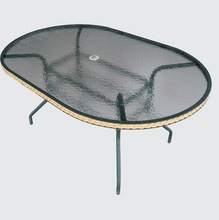 outdoor masaic tempered oval glass coffee table ks-d24a