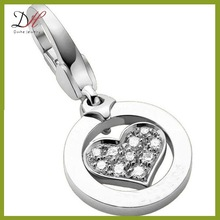 Daihe DH-PD77 Sterling Silver Jewelry Crystal Pave Heart Charm