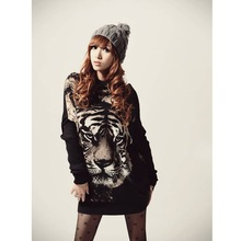 New Stylish Women's Jumper Tiger Print Sweater Pullover Batwing Knitwear Casual Tops G0080