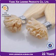High quality 100% human remy no tangle keratin nail sticker hair extensions