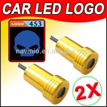 2014 car Ghost Shadow Light LED for Harley Davidson blue Laser Welcome Door Light Badge Logo 3D 12V 5w golden