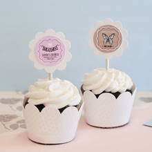 Vintage Baby Cupcake Wrappers & Cupcake Toppers