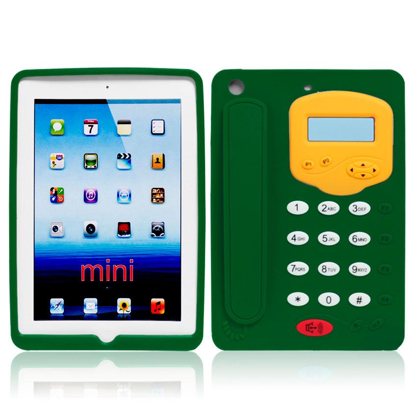 Green 3D telephone Design Silicone Case for iPad Mini2-891