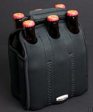Neoprene 6 pack bottle tote carrier cooler, customized neoprene 6 six pack water bottle cooler tote carrier