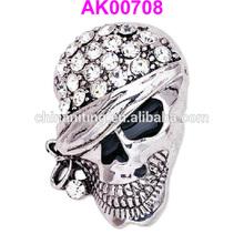 2014 halloween jewelry personalized crystal one eye skull brooch