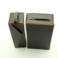 2014 new custom folding leather wine carrier box wine storage case